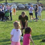 My Brother Brandon, the soccer player, helping instruct the girls how to kick correctly